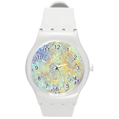 Abstract Earth Tones With Blue  Round Plastic Sport Watch (m)