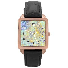 Abstract Earth Tones With Blue  Rose Gold Watches