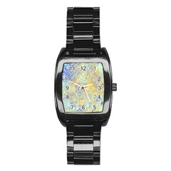 Abstract Earth Tones With Blue  Stainless Steel Barrel Watch