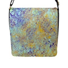 Abstract Earth Tones With Blue  Flap Messenger Bag (L)