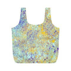 Abstract Earth Tones With Blue  Full Print Recycle Bags (m)