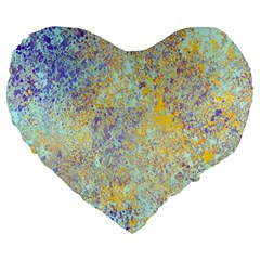 Abstract Earth Tones With Blue  Large 19  Premium Flano Heart Shape Cushions