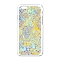 Abstract Earth Tones With Blue  Apple iPhone 6 White Enamel Case