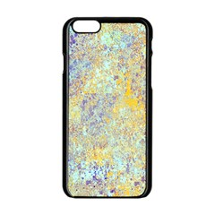 Abstract Earth Tones With Blue  Apple iPhone 6 Black Enamel Case