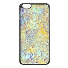 Abstract Earth Tones With Blue  Apple Iphone 6 Plus Black Enamel Case