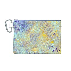 Abstract Earth Tones With Blue  Canvas Cosmetic Bag (M)