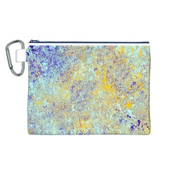 Abstract Earth Tones With Blue  Canvas Cosmetic Bag (l)