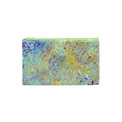 Abstract Earth Tones With Blue  Cosmetic Bag (XS)