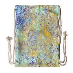 Abstract Earth Tones With Blue  Drawstring Bag (Large)
