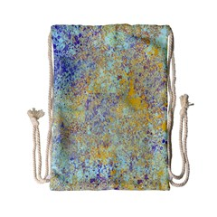 Abstract Earth Tones With Blue  Drawstring Bag (small)