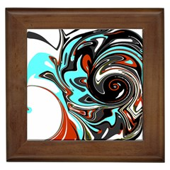 Abstract in Aqua, Orange, and Black Framed Tiles