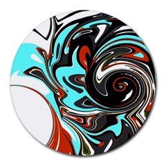 Abstract in Aqua, Orange, and Black Round Mousepads