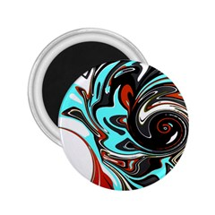 Abstract in Aqua, Orange, and Black 2.25  Magnets