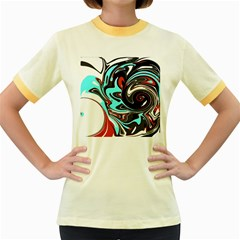 Abstract in Aqua, Orange, and Black Women s Fitted Ringer T-Shirts