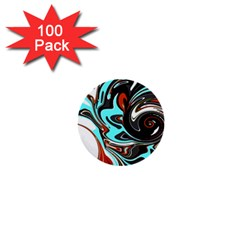 Abstract in Aqua, Orange, and Black 1  Mini Buttons (100 pack)