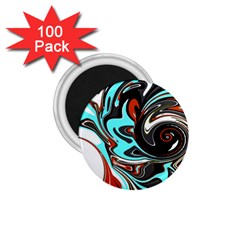 Abstract In Aqua, Orange, And Black 1 75  Magnets (100 Pack)