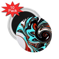 Abstract in Aqua, Orange, and Black 2.25  Magnets (10 pack)
