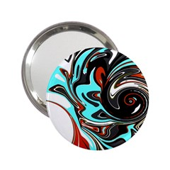 Abstract In Aqua, Orange, And Black 2 25  Handbag Mirrors