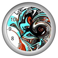 Abstract in Aqua, Orange, and Black Wall Clocks (Silver)