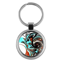 Abstract in Aqua, Orange, and Black Key Chains (Round)