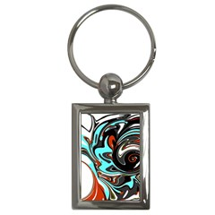 Abstract In Aqua, Orange, And Black Key Chains (rectangle)