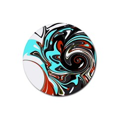 Abstract In Aqua, Orange, And Black Rubber Coaster (round)