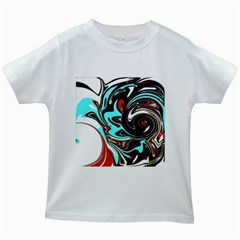 Abstract In Aqua, Orange, And Black Kids White T Shirts