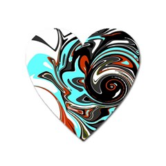 Abstract In Aqua, Orange, And Black Heart Magnet