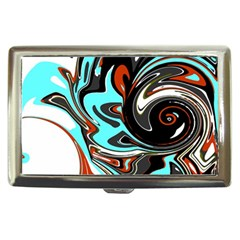 Abstract in Aqua, Orange, and Black Cigarette Money Cases