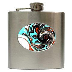 Abstract in Aqua, Orange, and Black Hip Flask (6 oz)