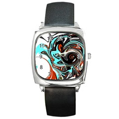 Abstract In Aqua, Orange, And Black Square Metal Watches