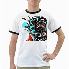 Abstract In Aqua, Orange, And Black Ringer T Shirts