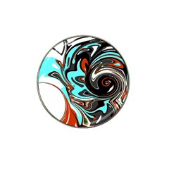 Abstract In Aqua, Orange, And Black Hat Clip Ball Marker
