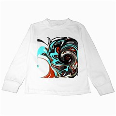 Abstract in Aqua, Orange, and Black Kids Long Sleeve T-Shirts