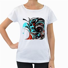 Abstract In Aqua, Orange, And Black Women s Loose Fit T Shirt (white)