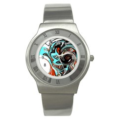 Abstract in Aqua, Orange, and Black Stainless Steel Watches