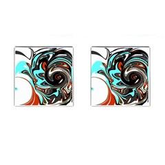 Abstract In Aqua, Orange, And Black Cufflinks (square)
