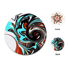 Abstract in Aqua, Orange, and Black Playing Cards (Round)