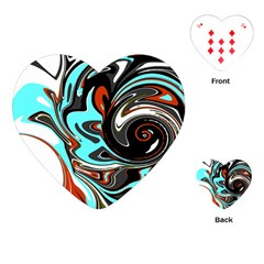 Abstract in Aqua, Orange, and Black Playing Cards (Heart)