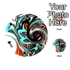Abstract In Aqua, Orange, And Black Playing Cards 54 (round)