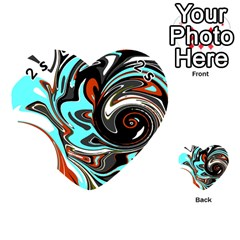 Abstract in Aqua, Orange, and Black Playing Cards 54 (Heart)