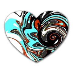 Abstract In Aqua, Orange, And Black Heart Mousepads