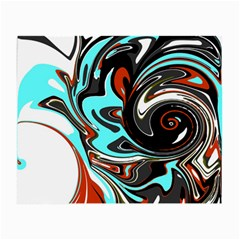 Abstract In Aqua, Orange, And Black Small Glasses Cloth (2 Side)