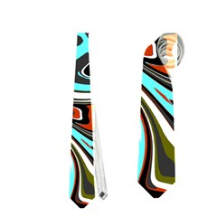 Abstract in Aqua, Orange, and Black Neckties (One Side)