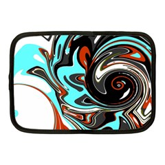 Abstract in Aqua, Orange, and Black Netbook Case (Medium)