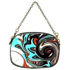 Abstract In Aqua, Orange, And Black Chain Purses (one Side)