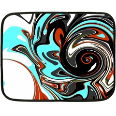 Abstract in Aqua, Orange, and Black Fleece Blanket (Mini)