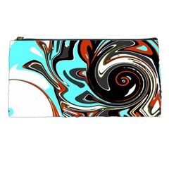 Abstract In Aqua, Orange, And Black Pencil Cases