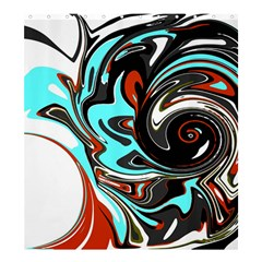 Abstract in Aqua, Orange, and Black Shower Curtain 66  x 72  (Large)