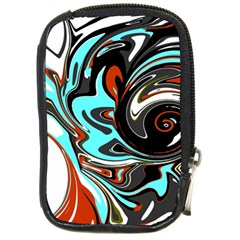 Abstract In Aqua, Orange, And Black Compact Camera Cases